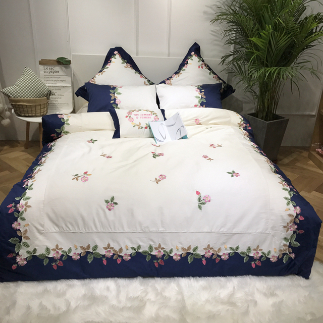 Embroidery Duvet Cover Egyptian Cotton Bedding Queen Size Bed Sheets Set  High Quality Bed Linen Pillow
