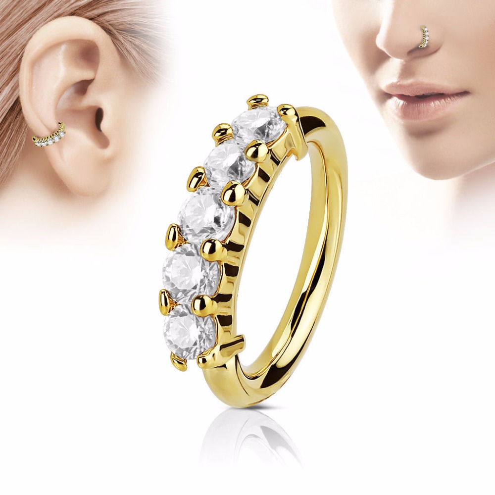 Newest brass zircon nose ring nose piercing nose hoop silver gold ...