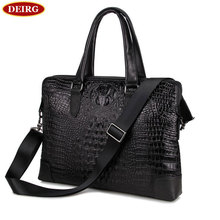 Crocodile Pattern Genuine Cowhide Two Compartments Black Men Leather Briefcase Business Handbag Fit for 15 Inch Laptop PR577276