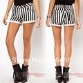 Nueva moda elegante Sexy Classic Womens Casual negro , blanco , rayado engaste Hot Shorts envío gratis