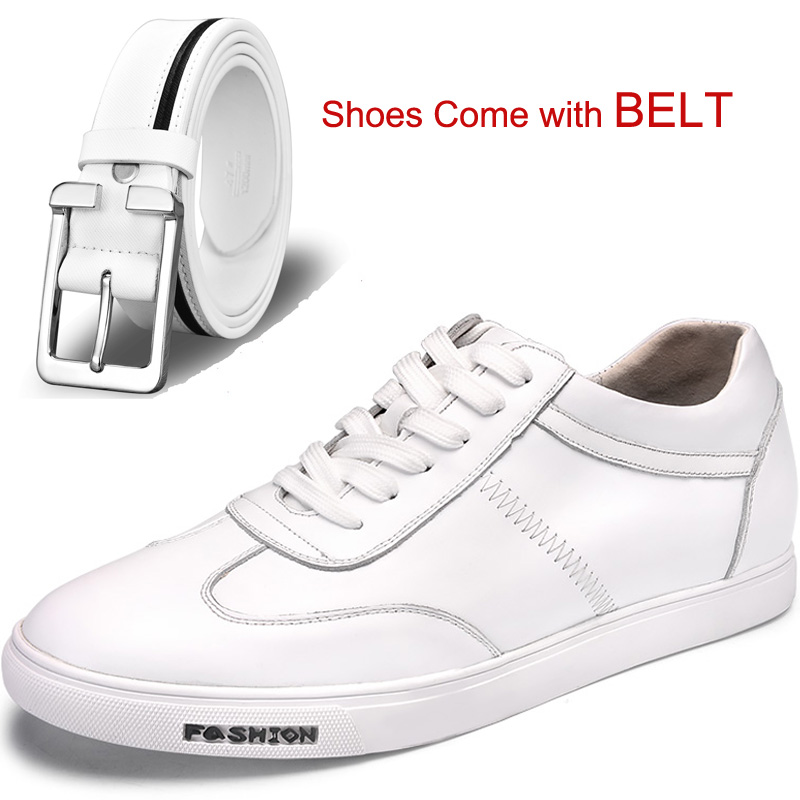 Fashion Leisure White Calf Leather Shoes Flats Height Increasing Elevator Shoes with Hidden Insole Lift 6CM