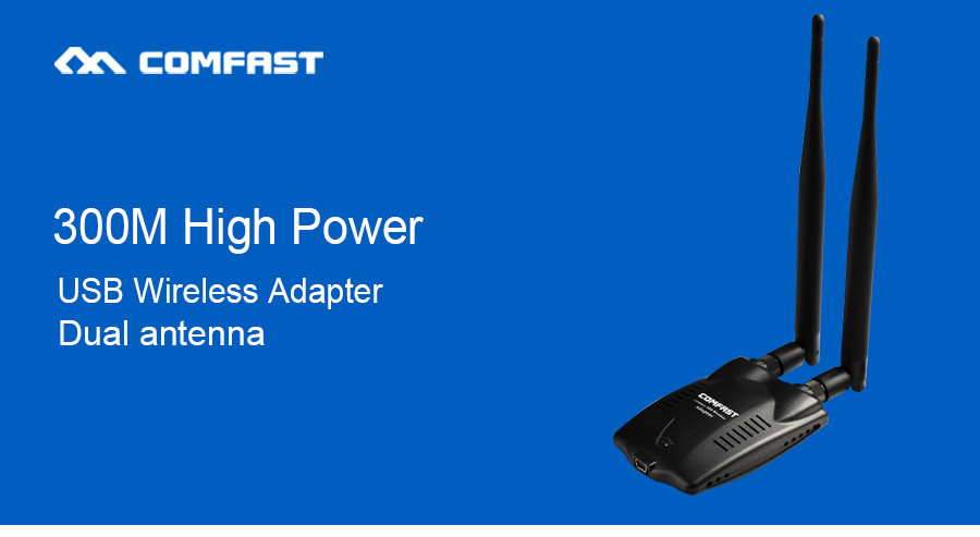 High Power Long Range Wifi adapter CF WU7200ND Wireless Wi fi Mini Router  Network 300M USB 2 0 2*6dBi wifi antenna windows 10-in Network Cards from