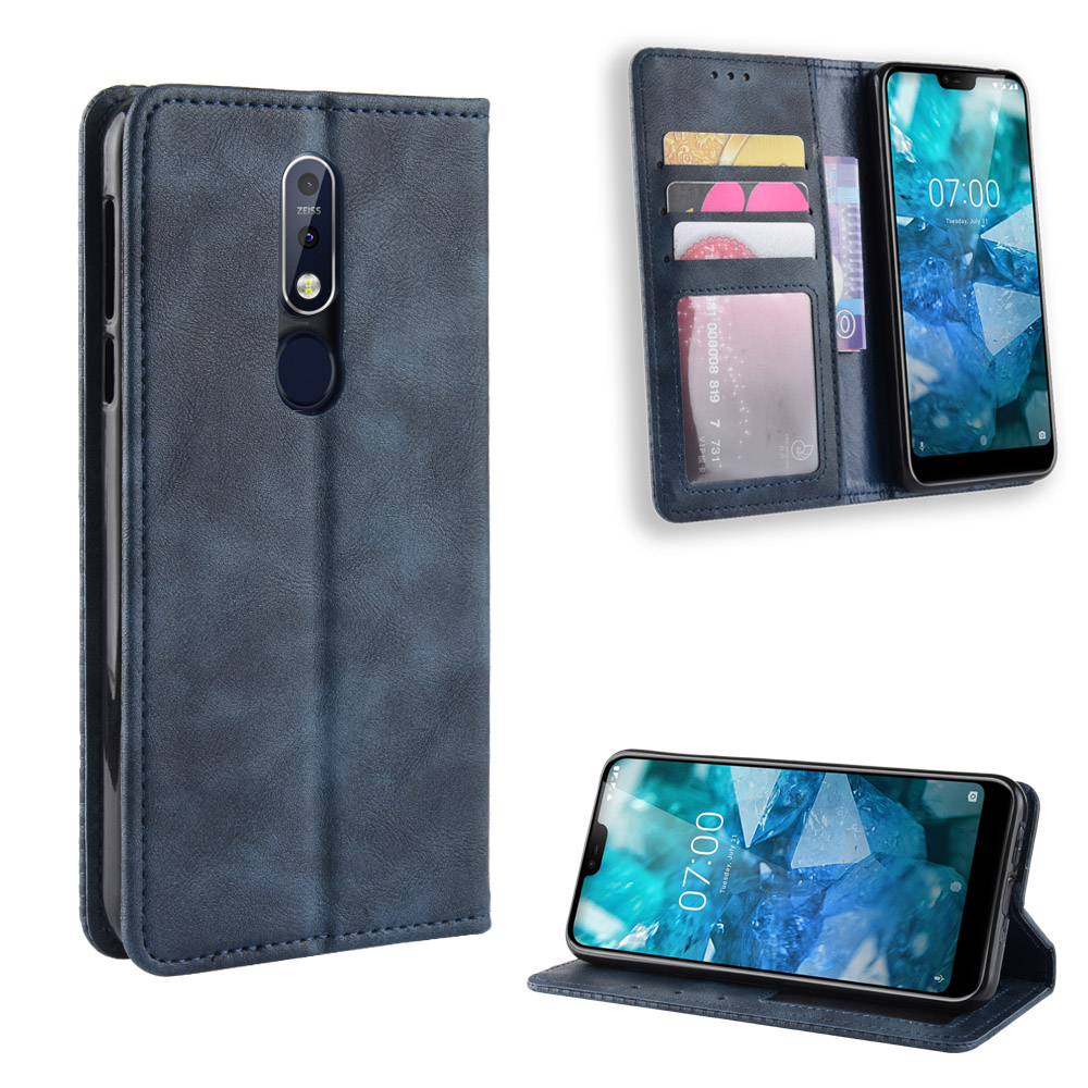 For Nokia 7.1 Case For Nokia 7.1 Wallet Style Leather Vintage Phone Protective Back Cover For Nokia 7.1 ta-1085 with Photo frame