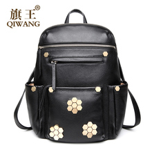 QIWANG Luxurious Laptop Backpack Casual Women Real Genuine Leather Backpack Appliques Flower Back Pack Bag on