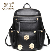 QIWANG Luxurious Laptop Backpack Casual Women Real Genuine Leather Backpack Appliques Flower Back Pack Bag on Clearance Price