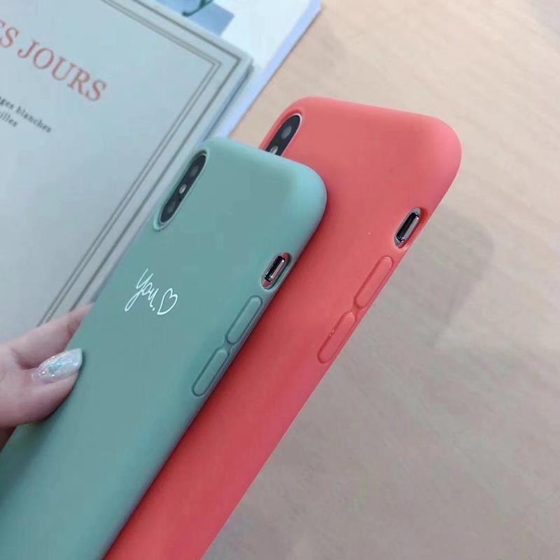 Cute Matcha green Couple Letter Me you Case For iPhone XS MAX XR X Case Soft Candy Phone Case For iPhone 7 8 6 S 6s plus cover (7)