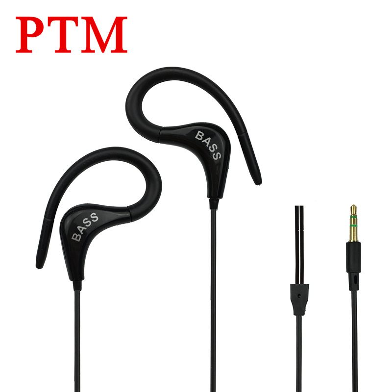 PTM Super Bass Noise Canceling Earphone Headphone Ear Hook Sport Headset fone de ouvido for iPhone