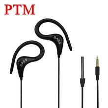 PTM Super Bass Noise Canceling Earphone Headphone  Ear Hook Sport Headset fone de ouvido for iPhone Samsung Phone MP3 MP4 Xiaomi