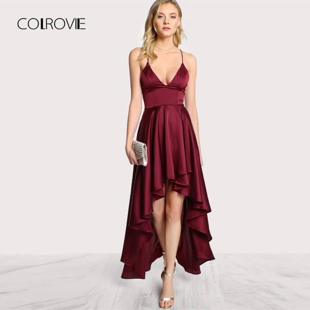 b05a1edf6196 COLROVIE Party Dress Deep V Neck Spaghetti Strap Sleeveless Maxi Dress  Asymmetrical Crisscross Backless High Low