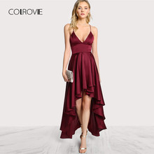 COLROVIE вечерние платья с глубоким v образным вырезом, спагетти ремень без рукавов Макси платье Асимметричный крест накрест с открытой спиной, высоко и низко, платье на бретелях