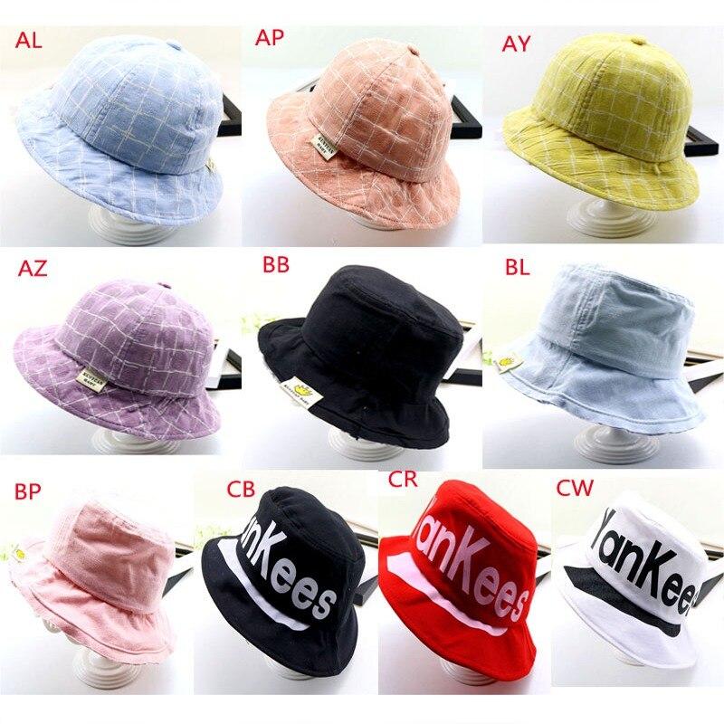 Kids Boys Girls Plaid Print Bucket Hats Reversible Sun Headwear Holiday Travel Headwear Outdoor Cap Harmonious Colors