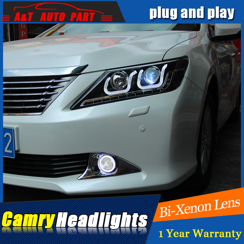Car Styling For Toyota Camry Headlights 2014-2015 New Camry V55 LED Headlight LED drl Lens Double Beam H7 HID Xenon lights. hireno headlamp for 2011 2015 toyota fortuner headlight assembly led drl angel lens double beam hid xenon 2pcs
