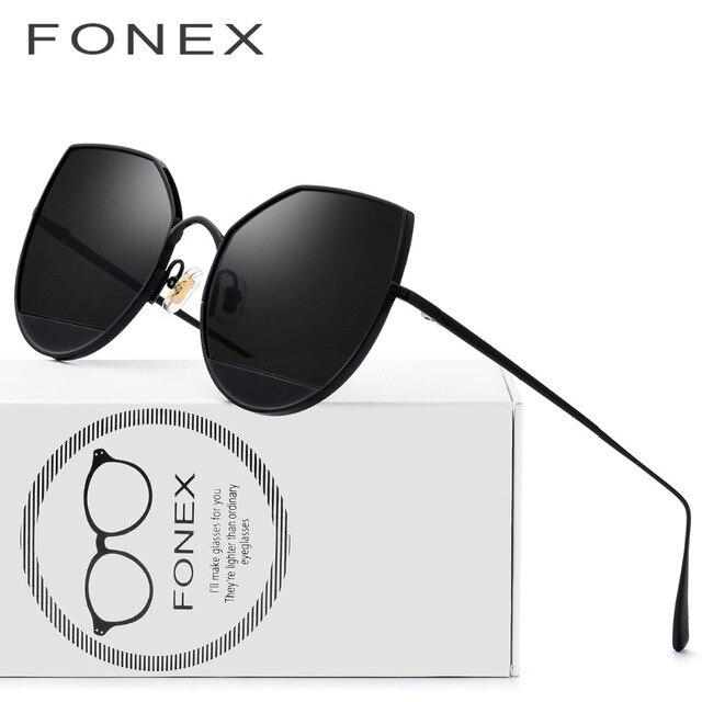 Titanio puro gato ojo gafas de sol mujer marca diseñador 2018 moda señoras  Sexy alta calidad 9b3bdab719c5