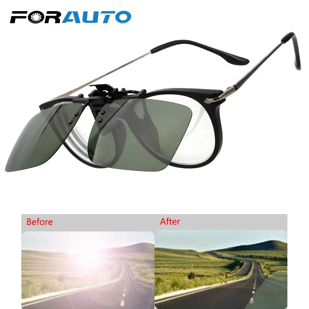 FORAUTO Driver Goggles Clip On Sunglasses Driving Night Vision Lens Polarized Sun Glasses Anti-UVA UVB Interior Accessories