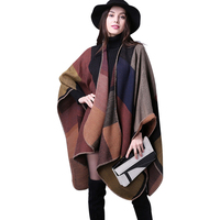 2016 Women Poncho Cotton Loose Ladies Outerwear Long Cashmere Wool Scarf Plaid Cardigans Sweater Cape Block