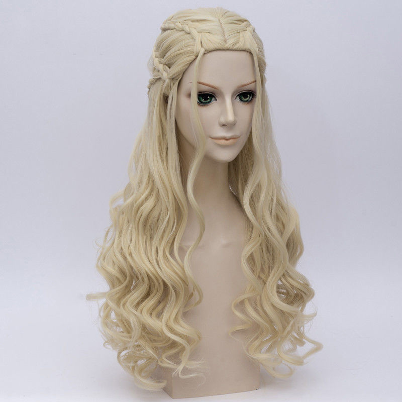 GAME OF THRONES Cosplay Wig Dragon Mother Daenerys Targaryen Gold Long Wavy Blonde Hair Wigs Halloween Party Costume Wig(China)