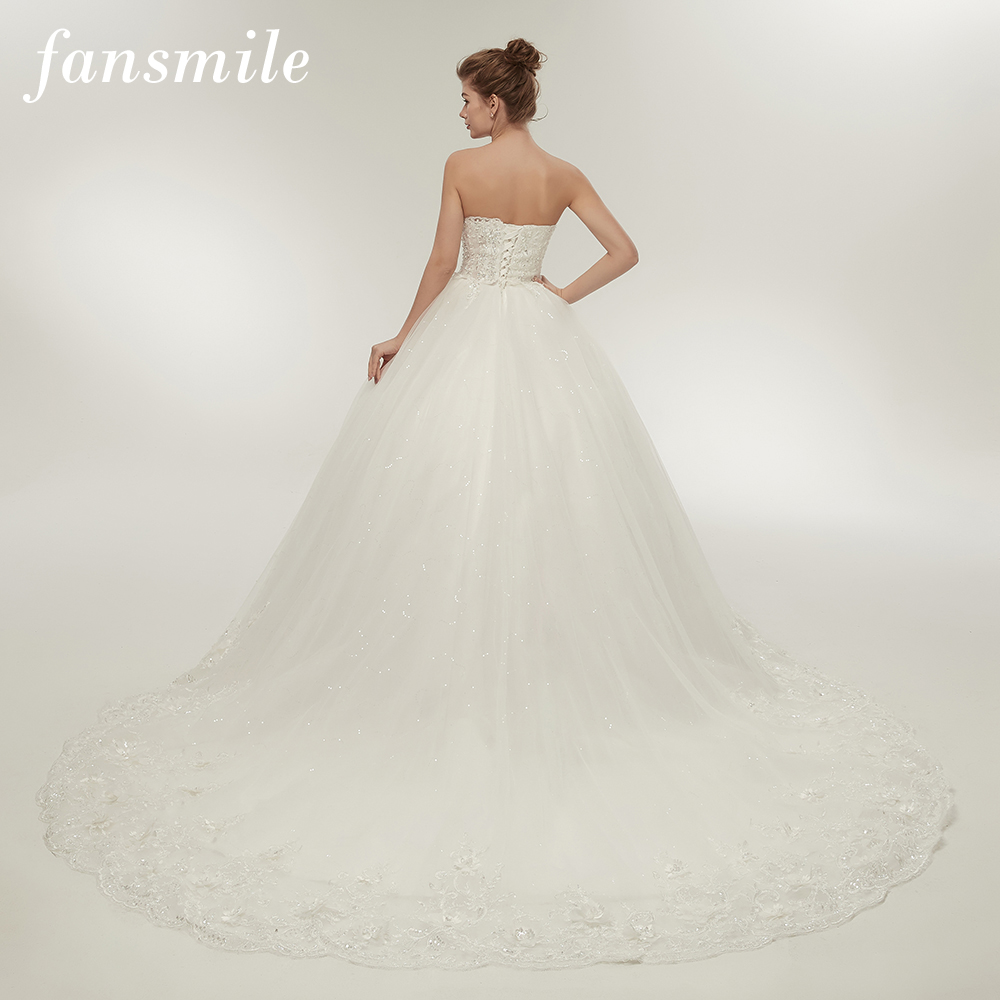 Fansmile Sexy See Throug Long Train Ball Quality Wedding Dresses 2019 Plus Size Bridal Vintage Gowns