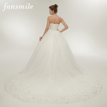 Gowns Wedding-Dresses Fansmile Long-Train Bridal Sexy Vintage Plus-Size See No FSM-009T