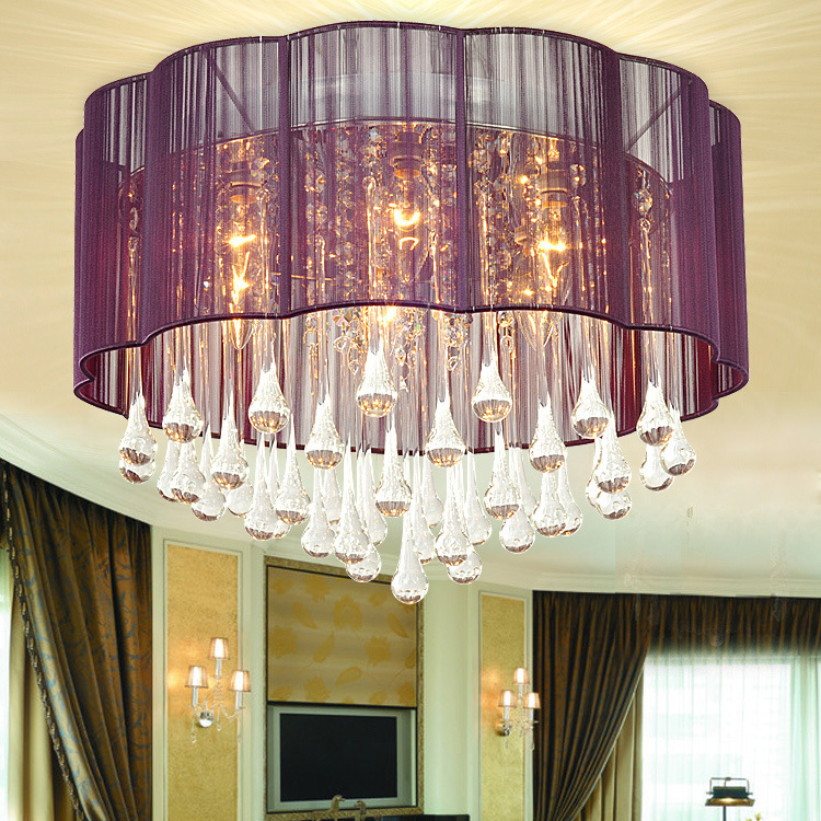 Free Shipping Deceorative 110 240V Round Ceiling Crystal Contemporary Light  With Purple Lamp Shade In 6 Lighs For Bedroom In Ceiling Lights From Lights  ...