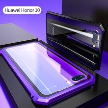 Per Huawei Honor 10 Custodia Protettiva Aereo Vite Del Respingente Del Metallo Caso di Telefono Cellulare Per Honor10 con Fondello Trasparente In Vetro Temperato