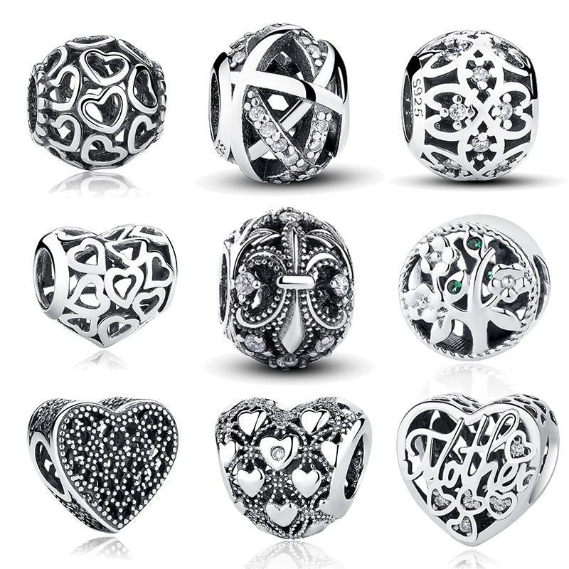 Hot Sale 21 Styles 100% 925 Sterling Silver Vintage Openwork Beads Fit Original Pandora Charm Bracelet Authentic Jewelry Gift