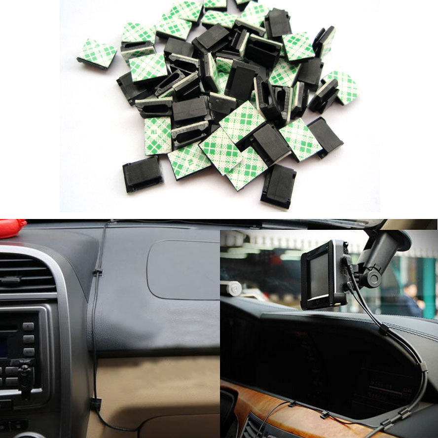 BBQ@FUKA 30x Black Car Wire Data Fixed clips Tie Cable Mount Wire Clamp Self-adhesive Car clips Car accessory