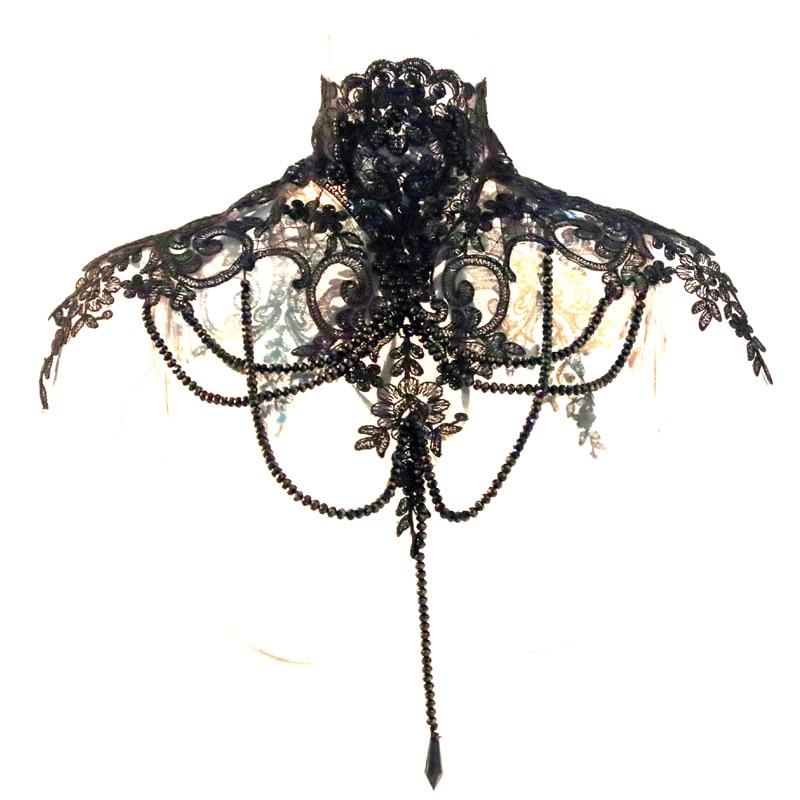 Black Victorian Handmade Beading Gothic Neck Corset Adjustable Halloween Costumes 2018