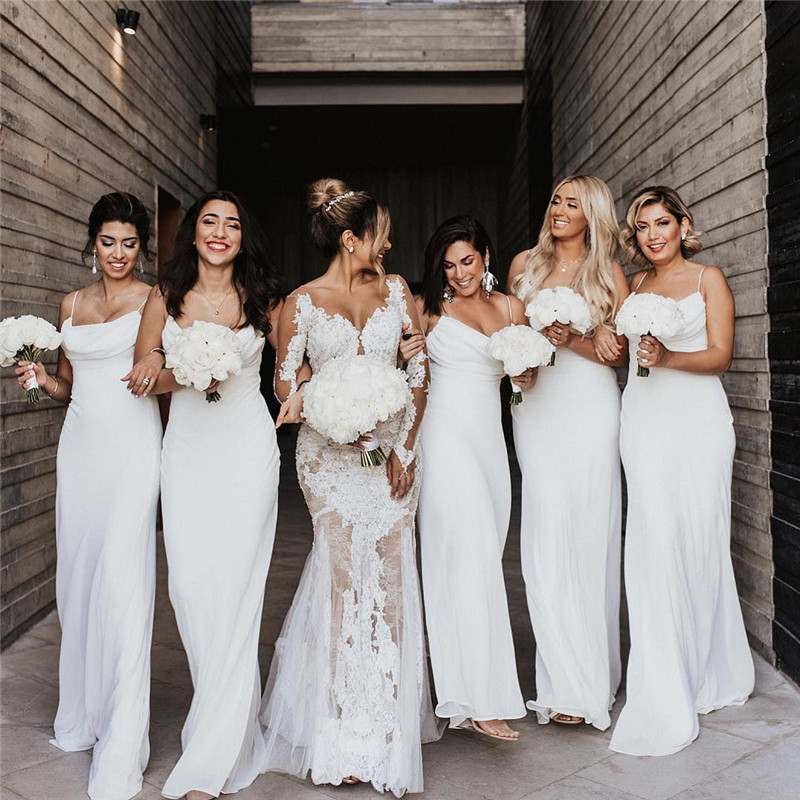 Elegant Chiffon Mermaid   Bridesmaid     Dresses   2019 Long Floor Length African Wedding Guest   Dress   With Ruffled vestido madrinha