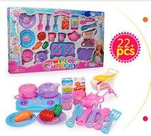 New  22pcs/set kids toys kitchen kitchen cooking utensil set  plastic tableware toys baby birthday gift  toys for girls