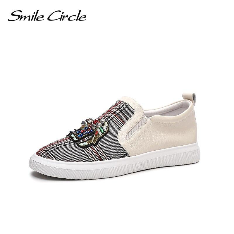 Ayakk.'ten Vulkanize Kadın Ayakkabıları'de Gülümseme Daire 2018 Bahar Hakiki deri sneakers Kadın Moda Taklidi Düz platform ayakkabılar Kız rahat ayakkabılar Loafer'lar'da  Grup 1