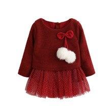 Рождественское платье с бантом и помпоном для девочек, Повседневное платье с длинными рукавами зимнее праздничное платье принцессы с блестками и рисунком для детей, 1D6