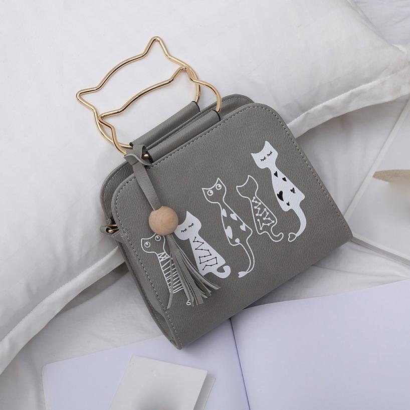 Cat Print Leather Bag