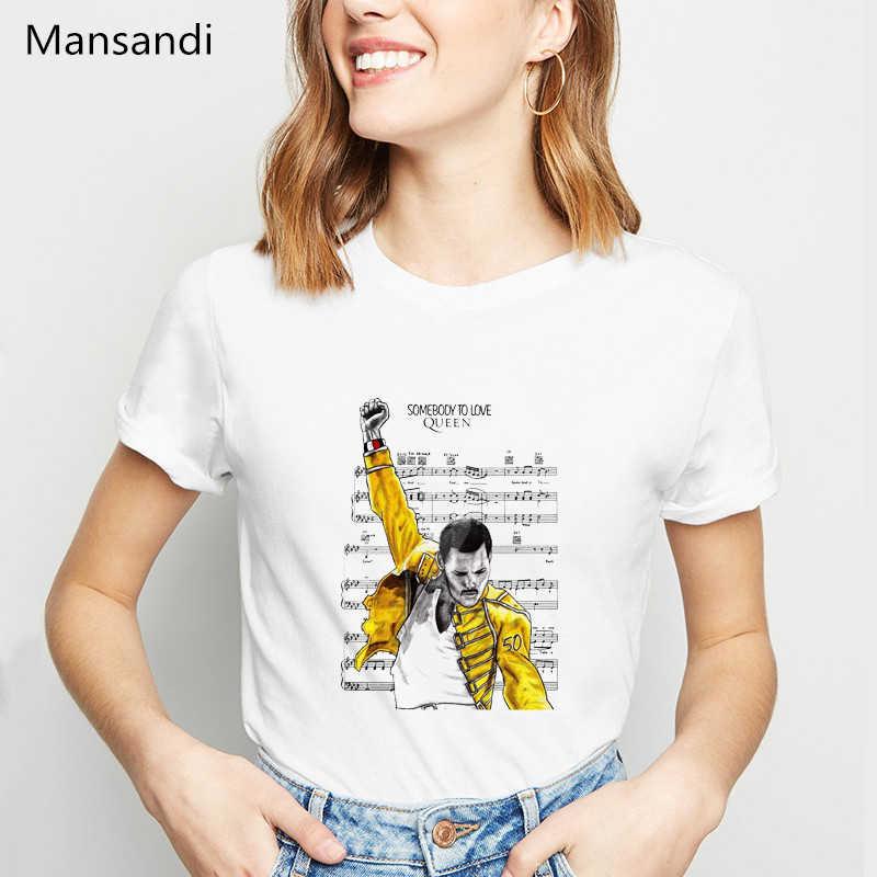 פרדי מרקורי t חולצה נשים בגדי 2019 מלכת להקת טי חולצות femme ווג tshirt harajuku חולצה נשי חולצה streetwear