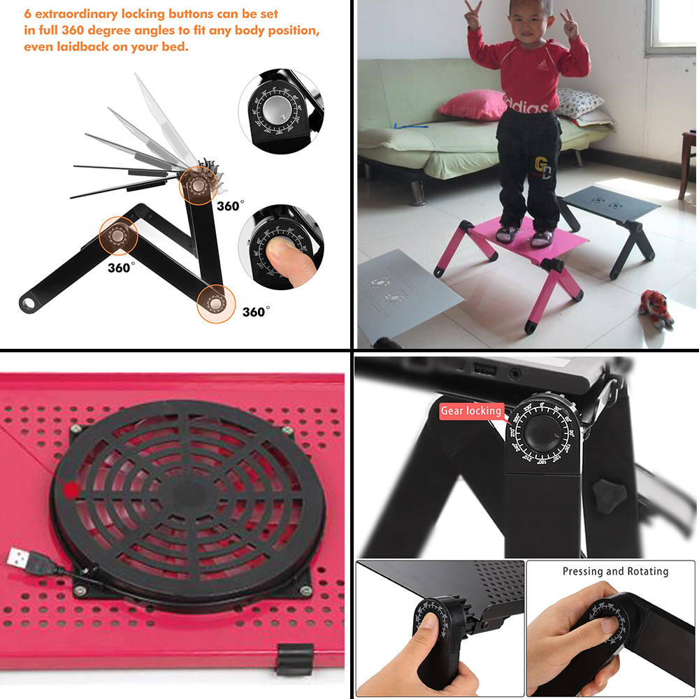 Multi Funktionale Ergonomische Faltbare Laptop Stand Kommen Mit USB Fan und Maus Pad Tragbare Laptop Mesa Notebook Tisch Für Bett