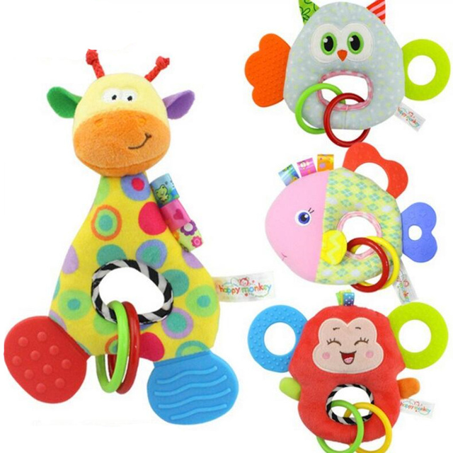 Baby Infant Cartoon Animal Giraffe Fish Handle Rattles Soft Plush Safety Teether Toys Teeth Care Doll For Kid 20%OFF