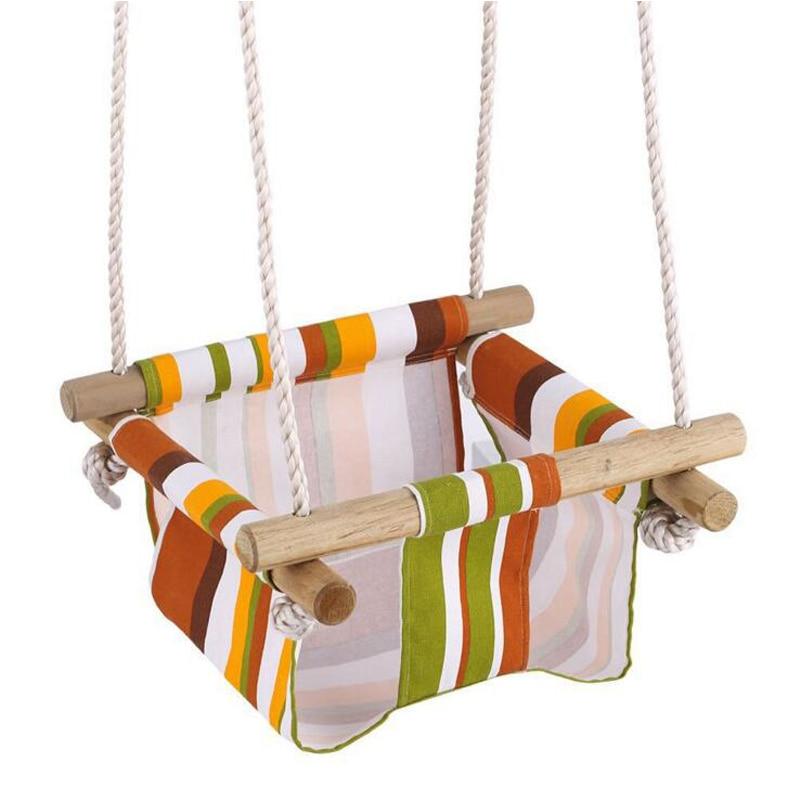 Toile et bois bébé bambin sécurité chaise suspendue balançoire siège intérieur et extérieur jouet balançoire hamac livraison gratuite - 2