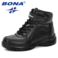 BONA 2018 New Autumn Fashion Children Synthetic Boots Kids Boots Boys Walking Shoes Flats With High Upper Warmth Sports Sneakers