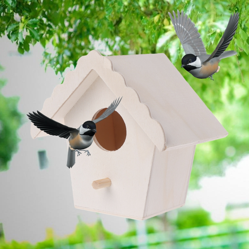 Bird Nest Natural Wood House Creative Parrot Wall Mounted Hanging Birdhouse Garden Decor Birds Supplies