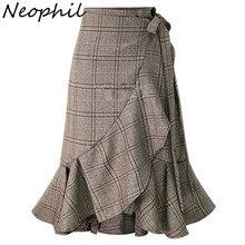Neophil, английский стиль, в клетку, на шнуровке, Русалка, миди, юбки-карандаш, с оборками, тартан, для женщин, высокая талия, Ретро стиль, серая, облегающая юбка, S1737