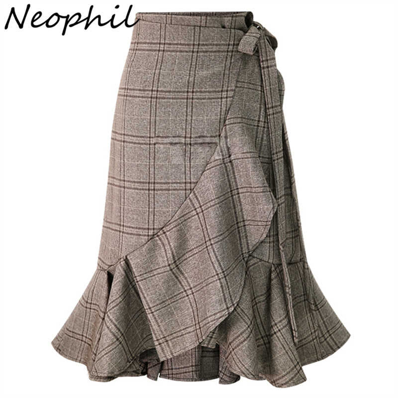 Neophil England Style Plaid Lace Up Mermaid Midi Pencil Skirts Ruffles Tartan Women High Waist Vintage Gray Bodycon Skirt S1737
