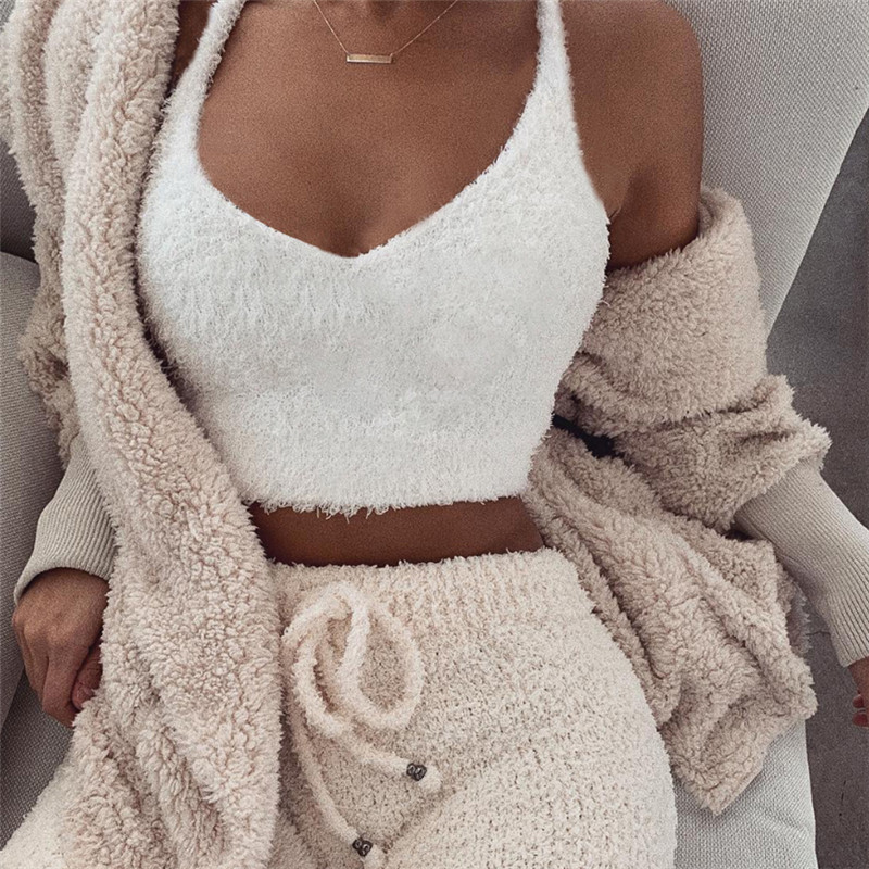 Casual Tops Crop-Top Fuzzy Backless Fluffy Deep-V-Neck Cami White Sexy Fashion Women