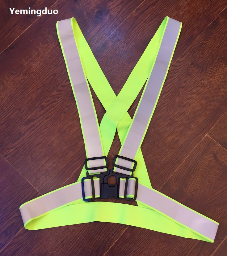 Outdoor Running Cycling Reflective Safety Warning Elastic Vest 4cm*3cm Reflective Fluorescent Green Ribbon 2016 real top fashion safety construction reflective vest more than a single fluorescent green lattice safety vest zip pocket