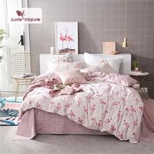 SlowDream Pink Flamingos Элегантный комплект постельного белья Модный пододеяльник Активный набор для печати Постельное белье Постельное белье Twin Full Queen King