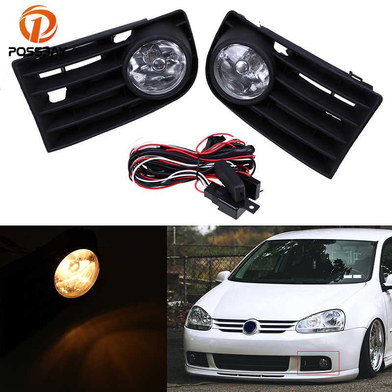 POSSBAY Car Front Bumper Grille Fog Lights With Wire Harness Switch for 2004-2010 VW Jetta / Bora / Golf Mk5 Auto Accessories for infiniti fx35 37 45 50 ex35 37 h11 wiring harness sockets wire connector switch 2 fog lights drl front bumper led lamp