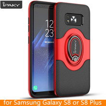for Samsung Galaxy S8 Plus Ring Case Magnetic Car Air Vent Holder iPaky Stand Holder Luxury Kickstand Case for Samsung S8 Case(China)