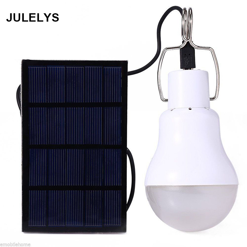JULELYS IP65 LED Bulb Solar Lamp Outdoor Garden Lights Holiday Tent Camping Lights Path Home Yard Solar Powered Modern Lighting