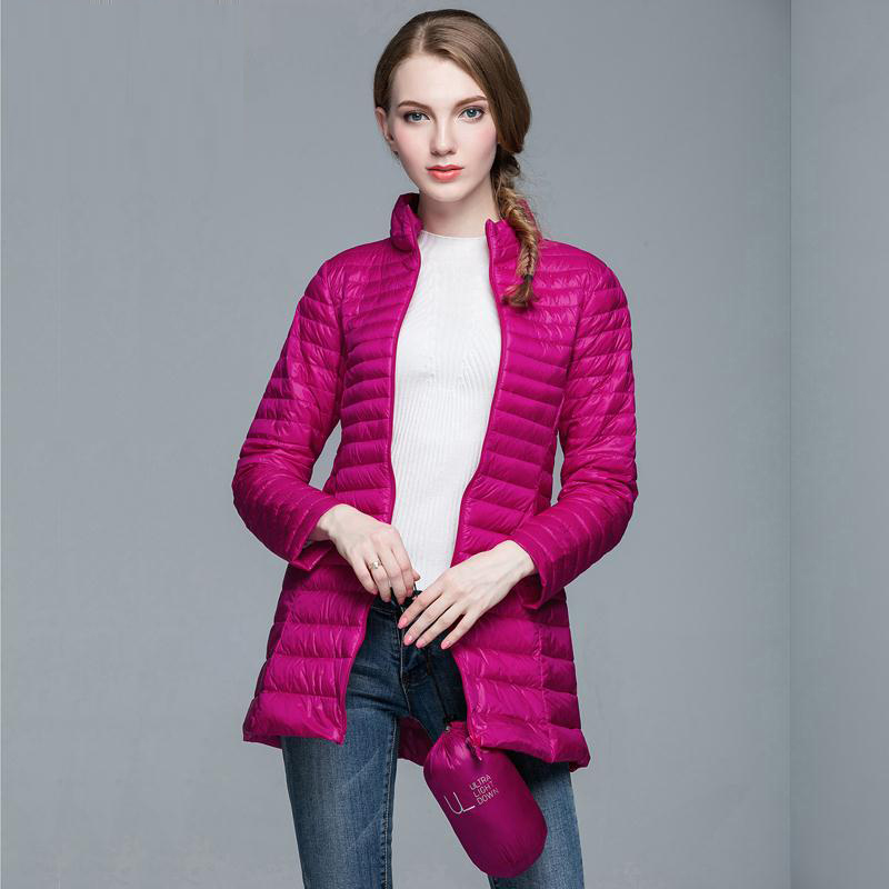 New winter women long down jackets fashion ultra light white duck down coat stand down parkas