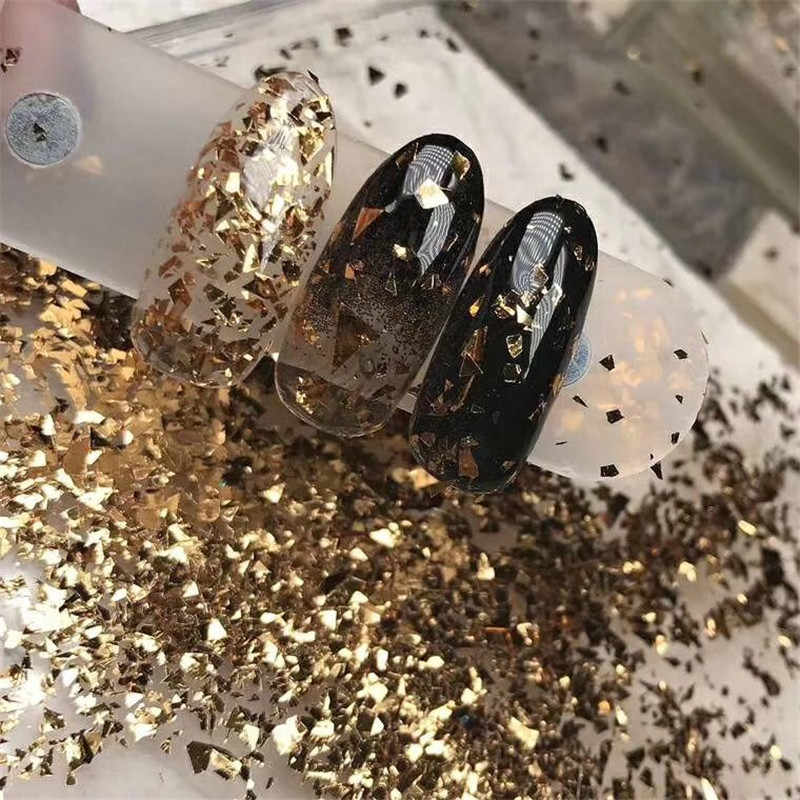 1 worek 6 kolorów złoty nieregularny papier z folii aluminiowej paznokci naklejka artystyczna 3D brokat DIY Manicure lakier żelowy uv paznokci przybory do dekoracji