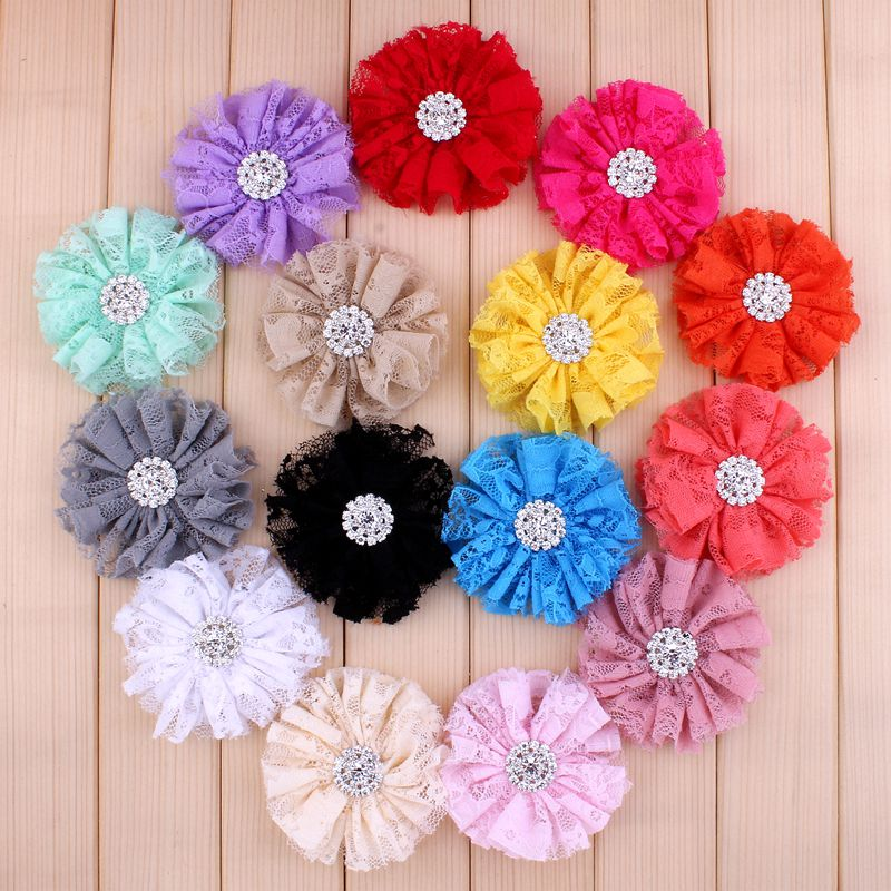120pcs/lot 7cm 15colors Shabby Lace Mesh Flower+Rhinestone Button For Kids Girls Hair Accessories Fabric Flowers For Headbands