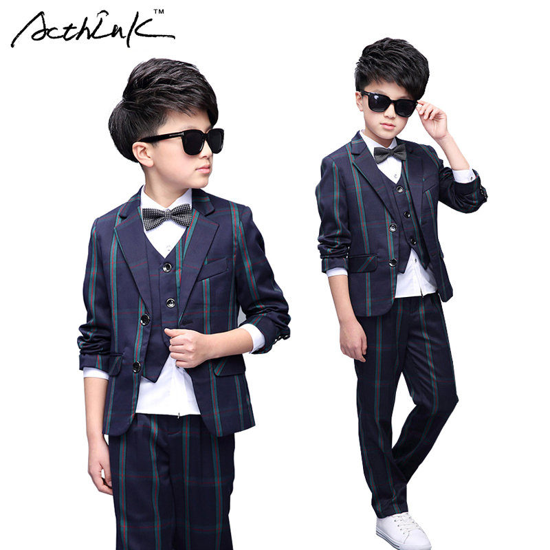 ФОТО ActhInK Gentle Boys 5PCS Formal Dress Suit with Bowtie Brand Kids England Style Party & Proms Suit for Boys Wedding Suit , MC227
